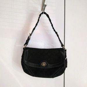 COACH Black Jacquard Leather Shoulder Bag